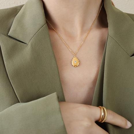 Collier en acier titane zircon étoile à huit branches à la mode en gros NHOK349674's discount tags