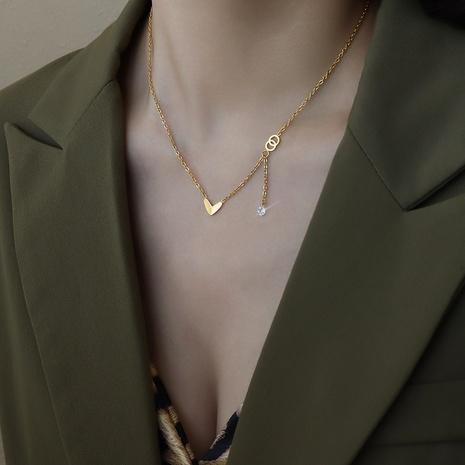 Collier en acier titane à double anneau en forme de coeur en gros NHOK349675's discount tags