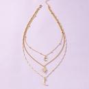 Fashion threelayer diamondstudded star moon alloy necklace wholesale NHGU349738