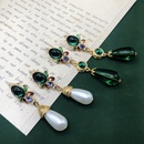 Fashion geometric drip glaze pearl alloy earrings wholesale NHOM349784