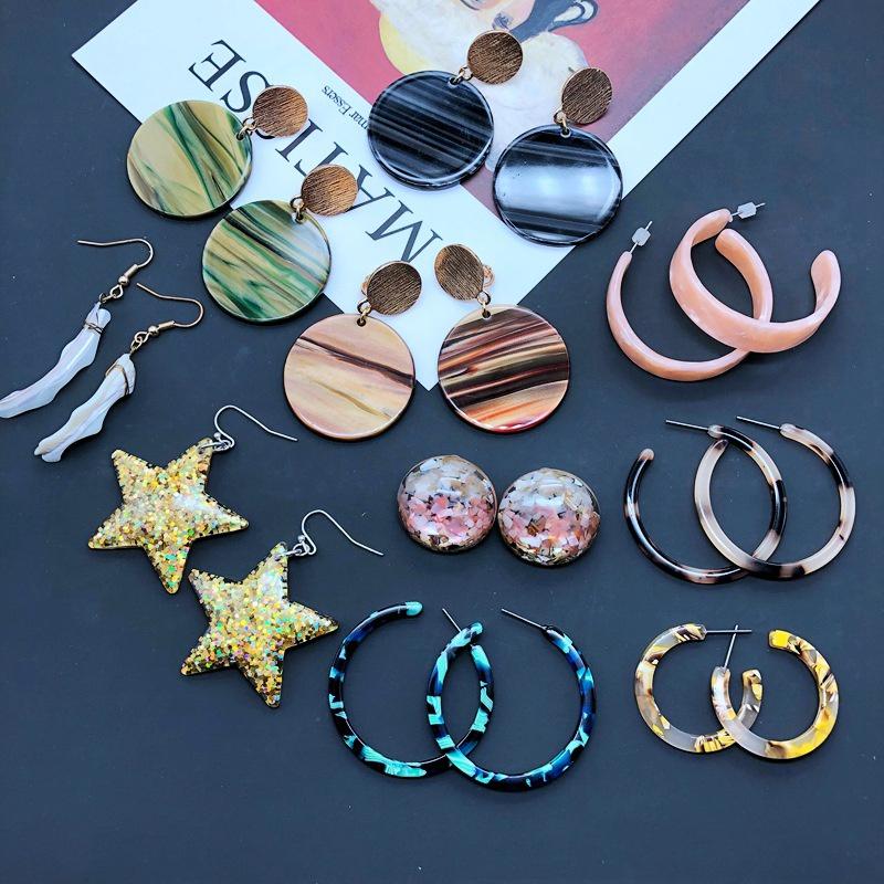 Fashion geometric shell star resin earrings NHOM349789