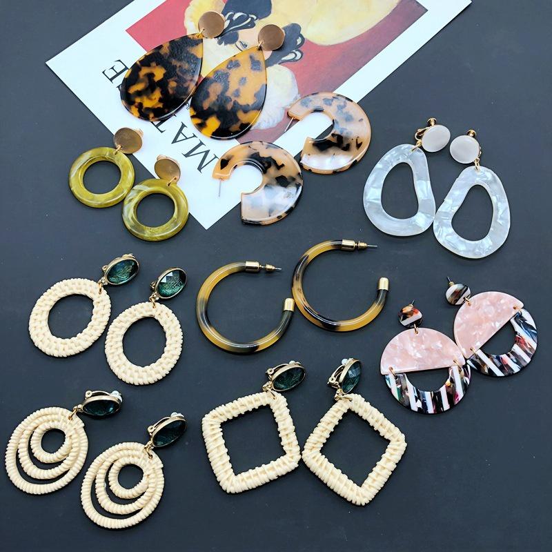 Fashion geometric resin earrings wholesale NHOM349791