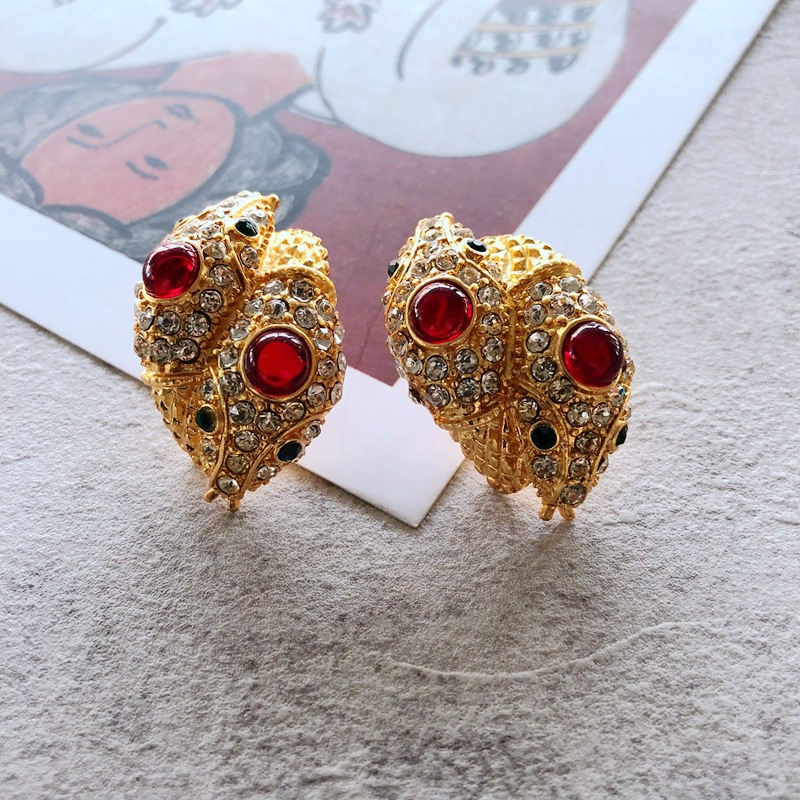 silver needle electroplating real gold red gemstone diamond stud earrings  NHOM349798