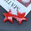 Fashion leopard star fan resin earrings wholesale NHOM349807