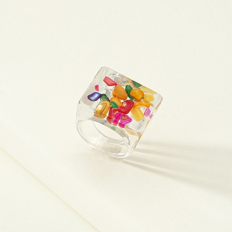 Fashion resin printing acrylic multicolor rings  NHQJ349830's discount tags