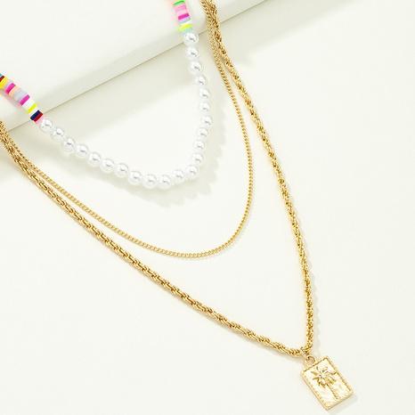 Collier en alliage multicouche de perles géométriques à la mode en gros NHQJ349831's discount tags