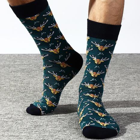 Fashion new simple lake green bottom elk tube socks NHNU350005