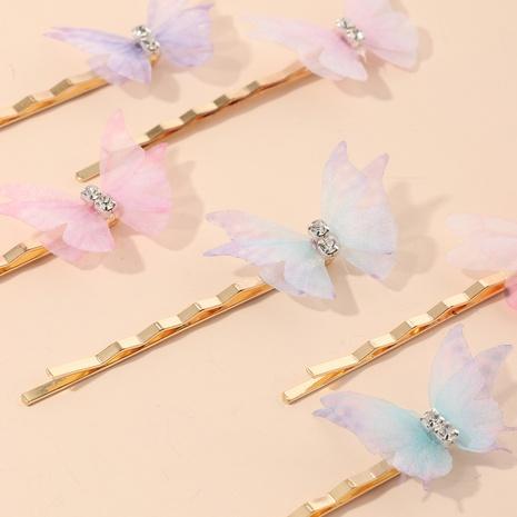 Korean style butterfly metal hairpin wholesale NHNU350002
