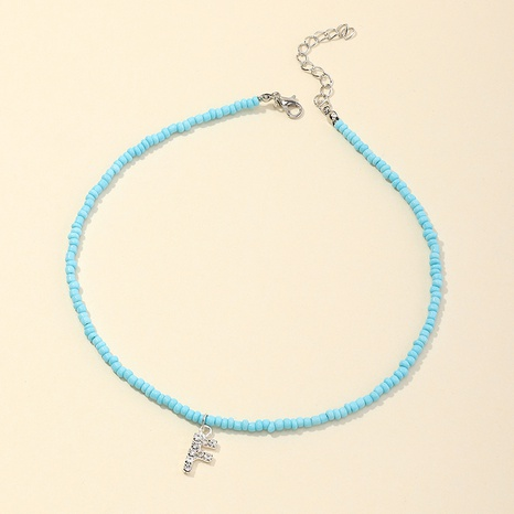 fashion micro-inlaid letter color rice bead necklace NHNU349997's discount tags