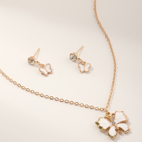 fashion new style simple Butterfly Pendant Necklace Earring Set NHNU349993
