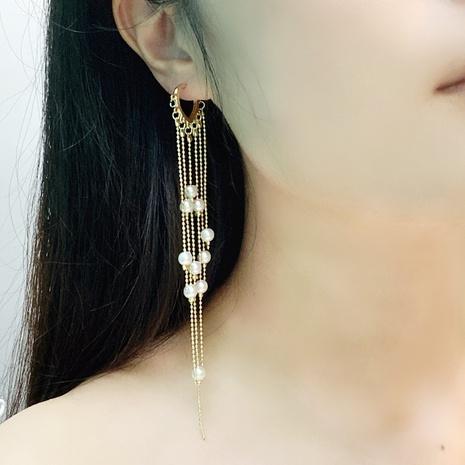 Boucles d'oreilles en forme de cœur à pampilles et perles NHFS349862's discount tags