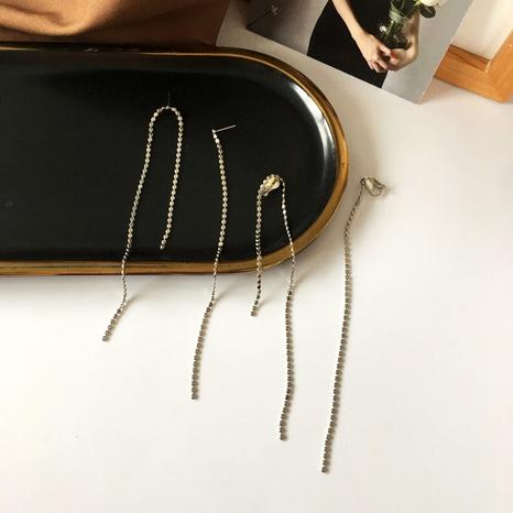 longues boucles d'oreilles asymétriques à pampilles et lignes créatives NHBY349890's discount tags