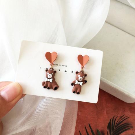 Boucles d'oreilles asymétriques en forme de coeur d'ours de dessin animé NHBY349893's discount tags
