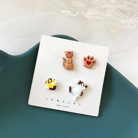 Boucles d'oreilles en alliage asymétrique chat dessin animé NHBY349896's discount tags
