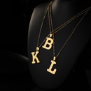 Stainless Steel 26 English Letters Pendant Necklace  NHQIY349906