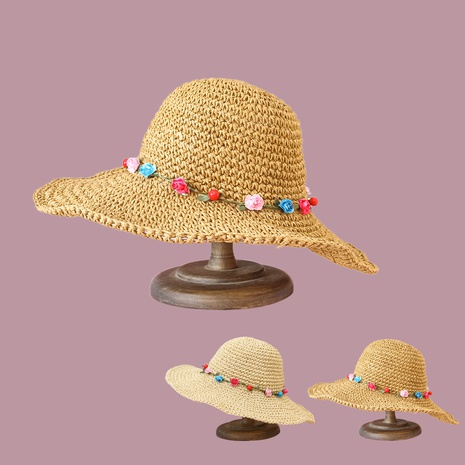 Korean flower wide-brimmed sunscreen hand hook straw hat NHTQ349960's discount tags