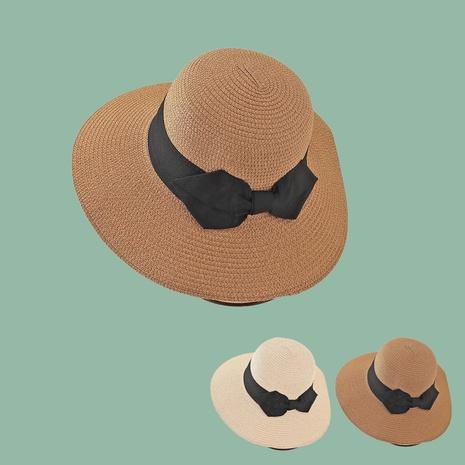 Fashion big bow sunshade sunscreen wide brim straw hat NHTQ349962's discount tags