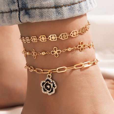 New fashion style Rose Flower Diamond Hollow Chain 3-Piece Anklet  NHGY351043's discount tags