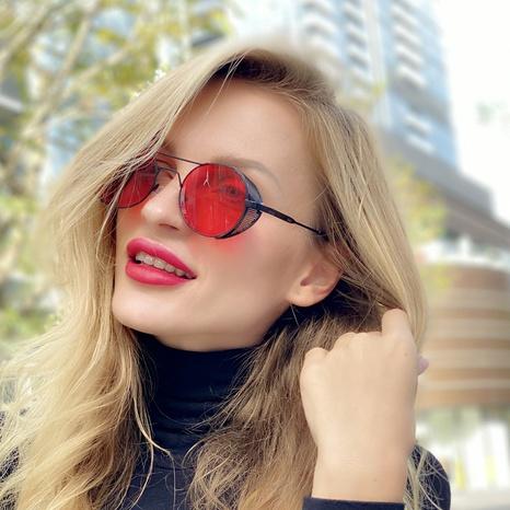 nuevo estilo de moda coreana retro gafas de sol huecas con montura redonda NHLMO350253's discount tags