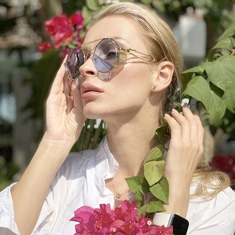 gafas de sol retro de la pierna del marco redondo del nuevo estilo de la moda NHLMO350284's discount tags