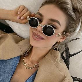 new fashion style diamond-studded steampunk round frame sunglasses NHLMO350302