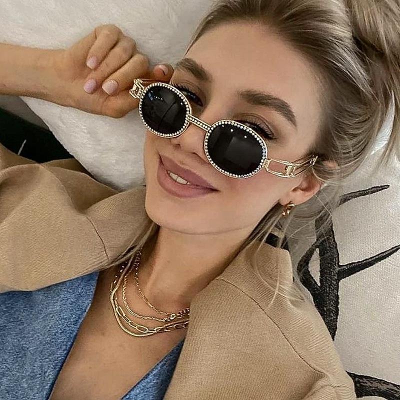 new fashion style diamondstudded steampunk round frame sunglasses NHLMO350302