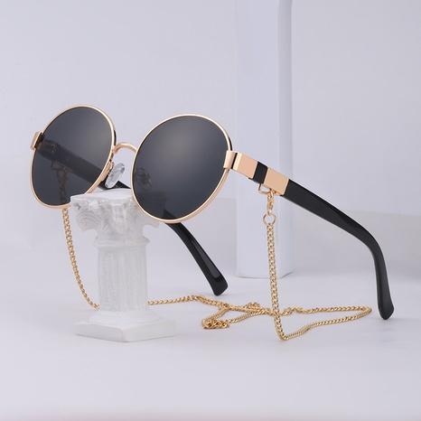 nuevo estilo de moda cadena simple marco pequeño gafas de sol redondas NHLMO350323's discount tags