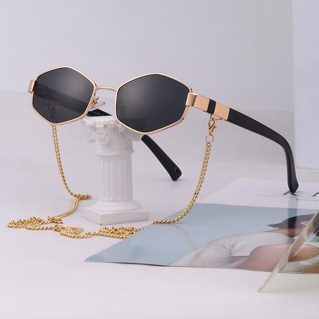 Gafas de sol con montura irregular de cadena de estilo coreano de nueva moda NHLMO350324's discount tags