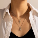 simple multilayer alloy pendant silver key lock double layer necklace NHGY351028