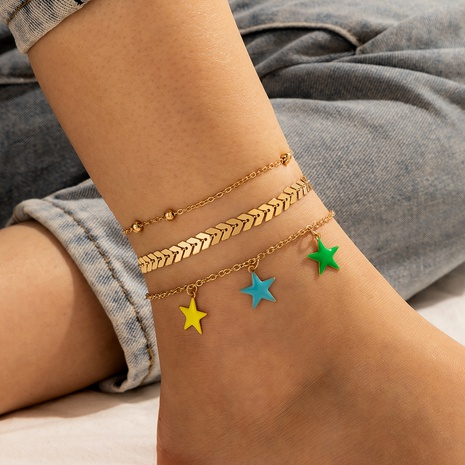 new bohemian star simple bead airplane chain alloy anklet 3-piece set NHGY351026's discount tags
