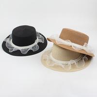 Korean pearl mesh sunshade sunscreen flat top hat wholesale NHXO350227