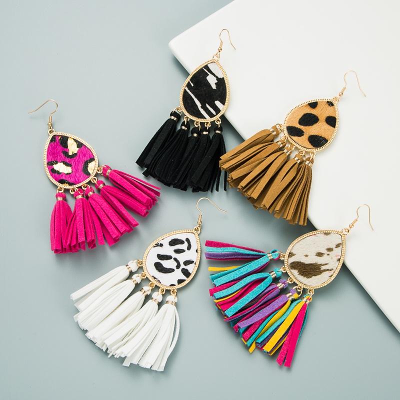 fashion new tassel leather horsehair print leopard earrings NHLN350614