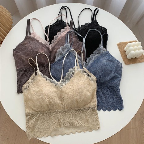 Lace sling beauty back tube top wrapped chest fake two-piece vest NHZN350479's discount tags