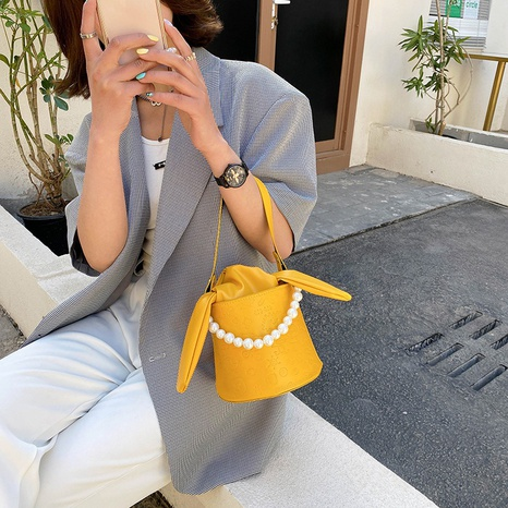 Mode einfarbige Perlenkette Schulter Messenger tragbare Tasche NHRU350509's discount tags