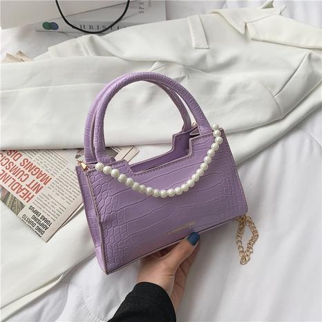 Mode Perlenkette Steinmuster Schulter Messenger tragbare kleine quadratische Tasche NHRU350510's discount tags