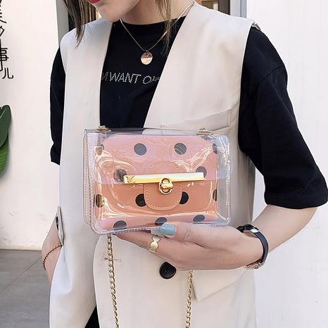 Polka Dot transparente Schulter Messenger kleine quadratische Tasche NHRU350518's discount tags
