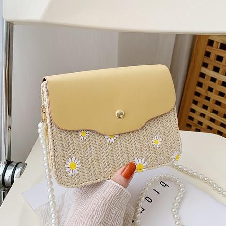 Mode Perlenkette Schulter Messenger Stroh gewebte Tasche NHRU350521's discount tags