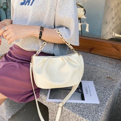 Mode einfarbig falten Kette Schulter Umhängetasche Großhandel NHRU350533's discount tags