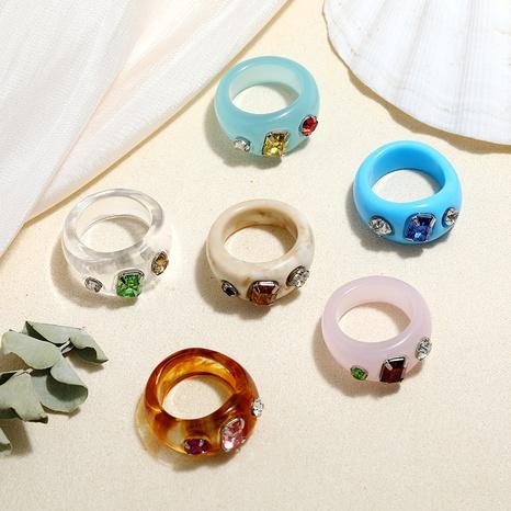 nuevo anillo de resina retro de acrílico de diamante colorido NHMO350875's discount tags