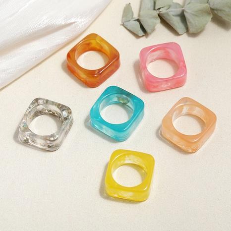 conjunto de anillos de resina cuadrados de color caramelo estilo de moda NHMO350879's discount tags