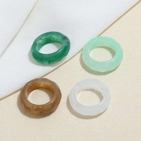 Conjunto de anillos de resina acrílica de color caramelo geométrico creativo de Corea NHMO350890's discount tags