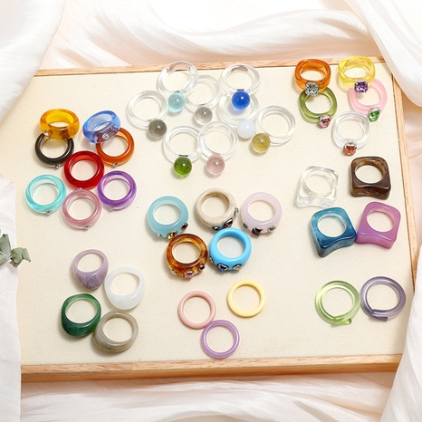 nuevo conjunto de anillos acrílicos de diamantes irregulares de moda NHMO350898's discount tags