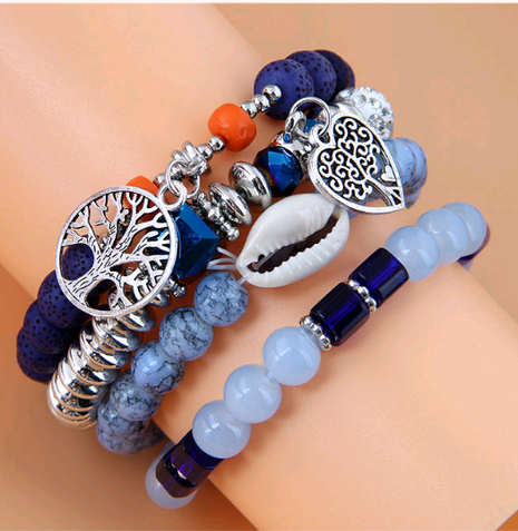 Simple metal heart tree of life conch bead multi-layer bracelet NHSC350975's discount tags
