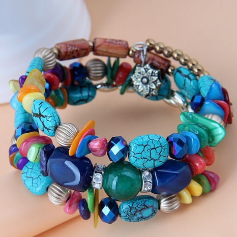 Bohemian fashion style shell turquoise multi-layer beaded bracelet NHSC350973's discount tags