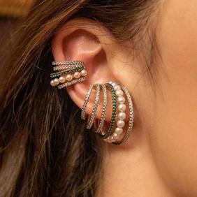 fashion multi-layer retro pearl rhinestone ear clip  NHAYN351055