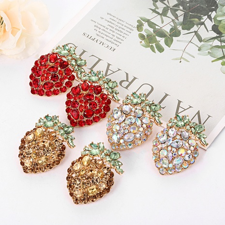 boucles d'oreilles fraise simulation alliage strass NHYAO351131's discount tags