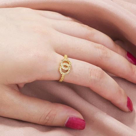 fashion double circle opening adjustable zircon ring  NHAN351203's discount tags