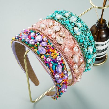 bandeau à la mode baroque de diamants incrustés de turquoise NHLN351316's discount tags