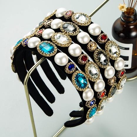 Bandeau en flanelle de strass baroque de style de la mode coréenne imitation perle NHLN351319's discount tags
