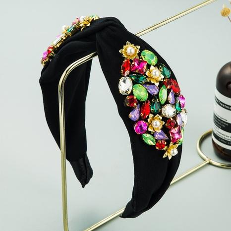 bandeau noué de perle de perle de verre de couleur unie de mode baroque NHLN351322's discount tags